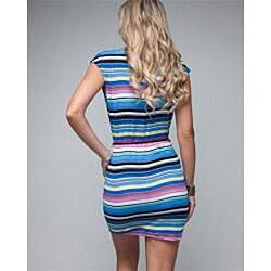 Stanzino Women's Striped Chain Belted Dress - Thumbnail 1