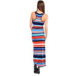 Stanzino Women's Navy, Orange and Blue Striped Maxi Dress with Sash - Thumbnail 1