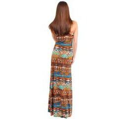 Stanzino Women's Tribal Print Racerback Maxi Dress - Thumbnail 1