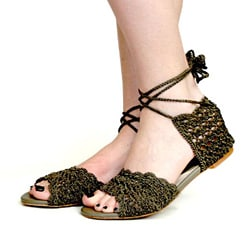 All Black Women's Crochet Gladiator Sandals