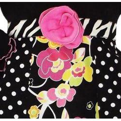 AnnLoren Girls' 2-piece Polka-dot Floral Zebra Outfit - Thumbnail 1