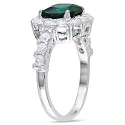 Miadora Sterling Silver Green Glass and Cubic Zirconia Fashion Ring - Thumbnail 1