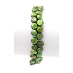 Green Freshwater Button Pearl 7-inch Stretch Bracelet (7 mm) - Thumbnail 1