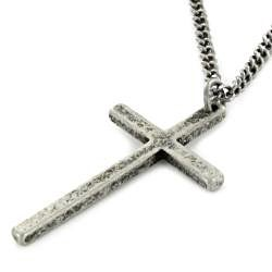 West Coast Jewelry Unisex Silvertone or Black-plated Thin Cross Pendant Necklace - Thumbnail 1