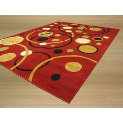 Pat Cosmic Abstract Red Rug (3'3 x 4'6)