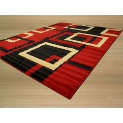 Pat Squares Abstract Red Rug (3'3 x 4'6) - Thumbnail 1