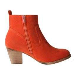 Refresh by Beston Women's 'SALLY-01' Orange Chunky-Heel Ankle Booties - Thumbnail 1