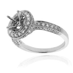 14Kt White Gold 1ct TDW Semi Mount Diamond Ring - Thumbnail 1