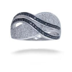 Sterling Silver 3/4ct TDW Black and White Diamond Ring (I-J, I2-I3)