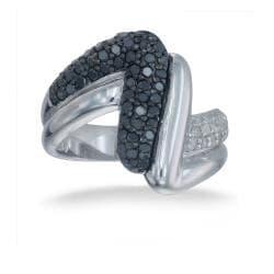 Sterling Silver 1ct TDW Black and White Diamond Cocktail Ring (I-J, I2-I3) - Thumbnail 1