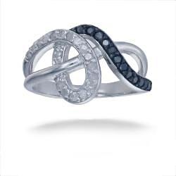 Sterling Silver 1/2ct TDW Black Diamond Swirl Ring (I-J, I2-I3)
