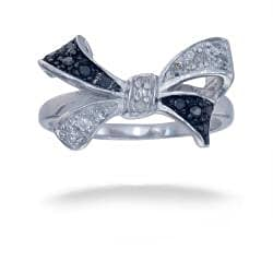 Sterling Silver 1/5ct TDW Black and White Diamond Bow Ring (I-J, I2-I3)
