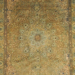 Persian Hand-knotted Tabriz Light Brown/ Gold Wool Rug (6'9 x 10')