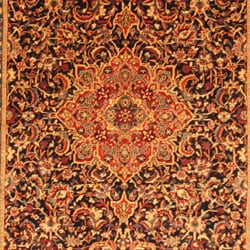 Persian Hand-knotted Sarouk Blue/ Ivory Wool Rug (7' x 10'8) - Thumbnail 1