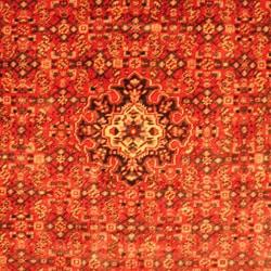 Persian Hand-knotted Tribal Hamadan Red/ Navy Wool Rug (7'6 x 10'9) - Thumbnail 1