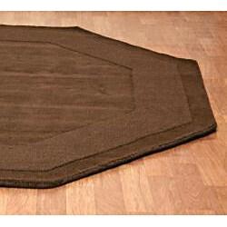 Hand-tufted Chocolate Border Wool Rug (6' x 6') - Thumbnail 1