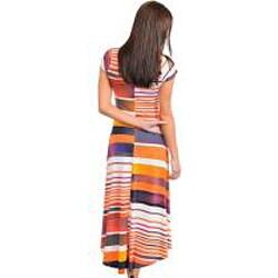 Stanzino Women's Short Sleeve Striped Maxi Dress with High-Low Hemline