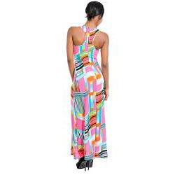 Stanzino Women's Geometric Prints Racerback Maxi Dress - Thumbnail 1