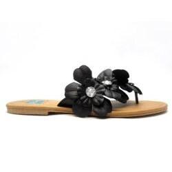Blue Women's 'Florster' Black Thong Sandals - Thumbnail 1