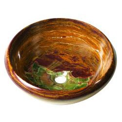 Round Gold Onyx Stone Tapered Rim Vessel - Thumbnail 1