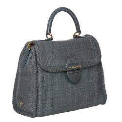Prada Hand-woven Braided Blue Suede Madras Flap-over Satchel Bag - Thumbnail 1