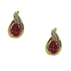 Gioelli Gold over Silver Created Ruby and Cubic Zirconia Earrings