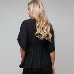 Stanzino Women's Sequined Black Smocked Blouse - Thumbnail 1