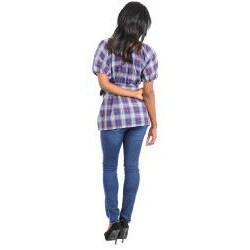 Stanzino Women's Plus Plaid Puff Sleeve Top - Thumbnail 1