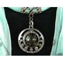 Seafoam Green with Smokey Topaz Jewelry Scarf