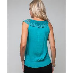 Stanzino Women's Embroidered Mesh Lace Blouse