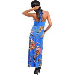 Stanzino Women's Blue and Gold Printed Halter Maxi Dress