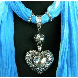Fashion Jewelry Scarf Two Toned Blue with Silver and Crystal Heart - Thumbnail 1