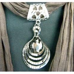 Fashion Jewelry Scarf Dark Brown with Smoky Topaz Pendant