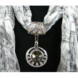 Fashion Jewelry Scarf White Print with Smoky Topaz - Thumbnail 1