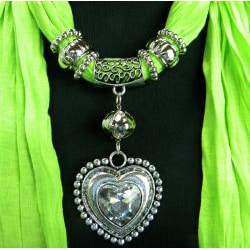 Fashion Jewelry Scarf Pea Green with Silver and Crystal Heart Pendant - Thumbnail 1