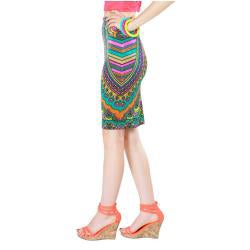 Tabeez Women's Multicolored Velvet Print Pencil Skirt - Thumbnail 1