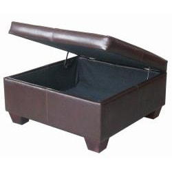 Espresso Synthetic Leather Square Storage Bench Ottoman Coffee Table