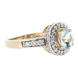 D'sire 10k Yellow Gold Aquamarine Round and 1/2ct TDW Diamond Ring (H-I, I1-I2) - Thumbnail 1