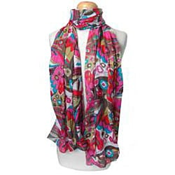 Pink and Brown Floral Print Scarf