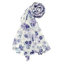 Purple Floral Print Fashion Scarf - Thumbnail 1