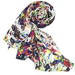 Thumbnail 2, White Floral Print Scarf. Changes active main hero.