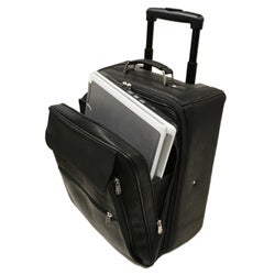 Piel Leather 17-inch Computer Mini-roller Wheeled Upright