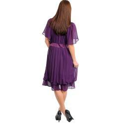 Stanzino Women's Short Sleeve Chiffon Pleated Dress with Stone Embellished Neckline and Waist