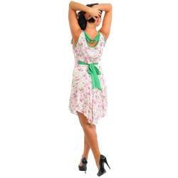 Stanzino Women's Plus Floral Print Dress with Sash - Thumbnail 1