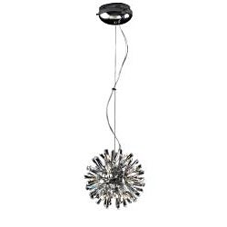 Joshua Marshal Home Collection Modern 15-light Chrome Crystal Burst Adjustable Hanging Pendant - Thumbnail 1