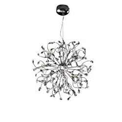 Joshua Marshal Home Collection Modern 32-light Chrome Crystal Encompassed Adjustable Hanging Pendant - Thumbnail 1