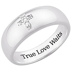 Sterling Silver 'True Love Waits' Pave Diamond Cross Ring - Thumbnail 1