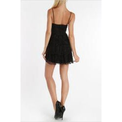 247 Frenzy Juniors Black Spaghetti Strap Lace Dress - Thumbnail 1
