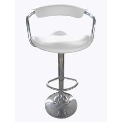 White and Chrome Bar Stools (Set of 2) - Thumbnail 1