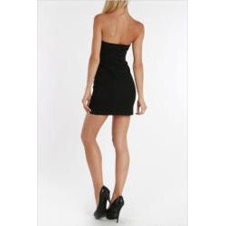 247 Frenzy Juniors Black Pleated Cinched Waist Tube Dress - Thumbnail 1